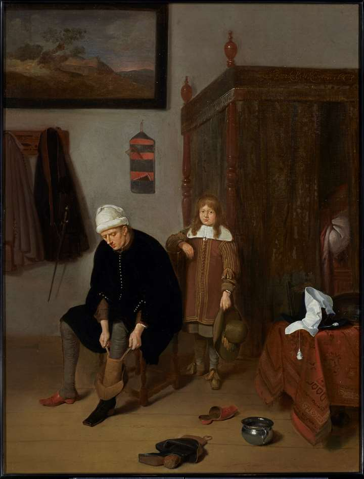 Interior with a Gentleman pulling on his Boots, with his page standing by